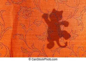 cat silhouette from sunlight on curtain, texture and background