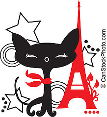 Cat silhouette in France. Black and red