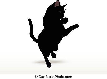 cat silhouette in Reach pose