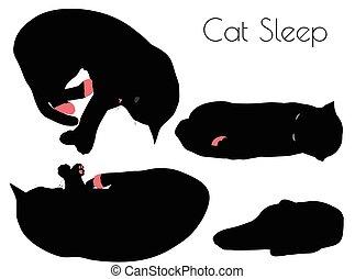 cat silhouette in Sleep Pose