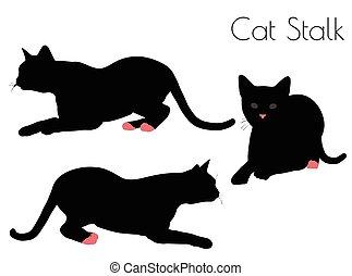 cat silhouette in Stalk Pose
