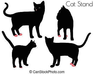 cat silhouette in Stand Pose
