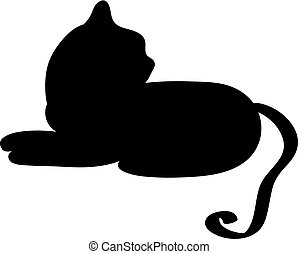 Cat silhouette isolated on white background