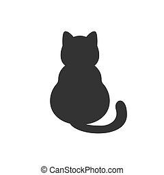 Cat silhouette. Isolated on white. Vector.