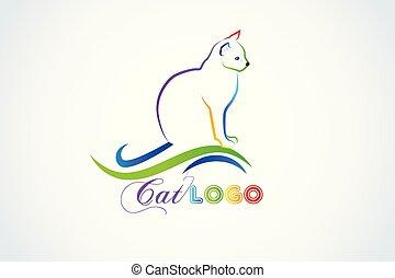 Cat silhouette logo id card vector