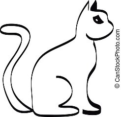 Cat silhouette on white background