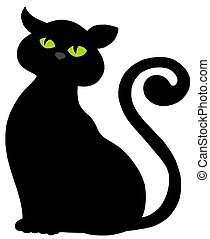 Cat silhouette on white background - isolated illustration.
