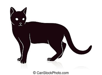 cat silhouette vector illustration isolated on white background