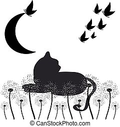 Cat silhouette with butterflies and dandelions  isolated on white background. Vector illustration.