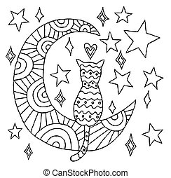 Cat  sit on the moon black line illustration