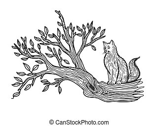 cat sits on a tree sketch engraving vector illustration. T-shirt apparel print design. Scratch board imitation. Black and white hand drawn image.
