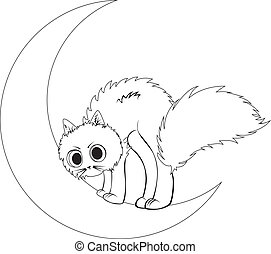 Cat sits on moon