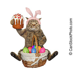 Cat sits with easter cake and eggs 2