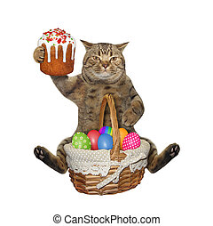 Cat sits with easter cake and eggs