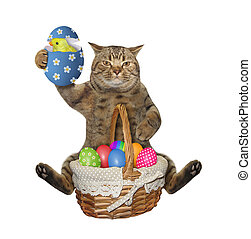 Cat sits with easter eggs