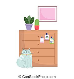 cat sitting drawers with potted plants isolated design white background