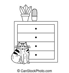 cat sitting drawers with potted plants isolated icon line style