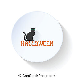 Cat sitting on halloween labels flat icon