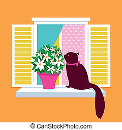Cat sitting on the window sill