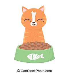 cat sitting with bowl food cartoon