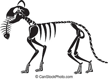 cat skeleton caught a fish skeleton