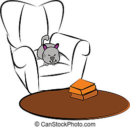 cat sleeping in comfy chair in front of carpet sketch