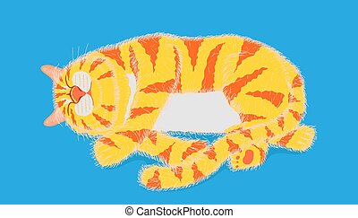 cat sleeping on pastel blue color background. vector illustration eps10