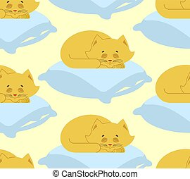 Cat sleeps on pillow seamless pattern. Sleeping kitten ornament. pet background