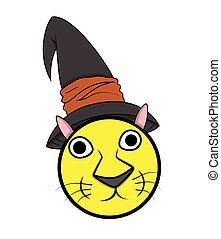Cat Smiley with Witch Hat Vector