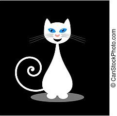 cat smiling on black background
