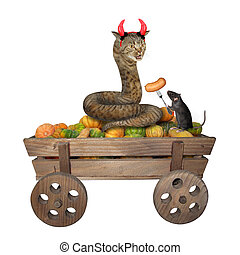 Cat snake and rat on wooden cart 2