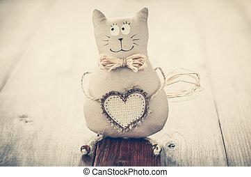 cat soft fabric handmade heart to insert text