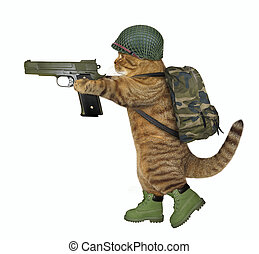 Cat soldier holds a gun