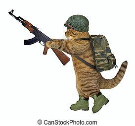 Cat soldier holds machine gun 2