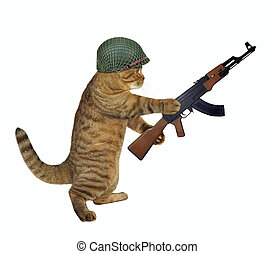 Cat soldier holds machine gun