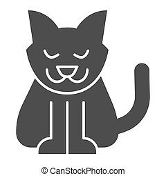 Cat solid icon. Creepy demon with tail, witch pet. Halloween party vector design concept, glyph style pictogram on white background.