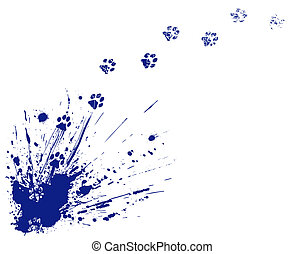 Editable vector illustration of an ink spill and cat pawprints