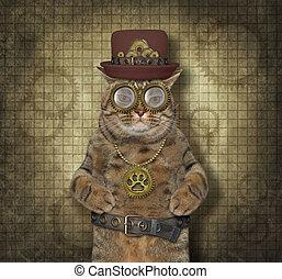 Cat steampunk in glasses 2