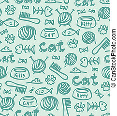 Cat stuff seamless pattern