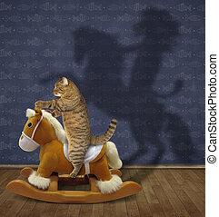 Cat swinging on toy rocking horse