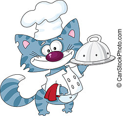 Cat the cook with tray - An illustration of a cat the cook...