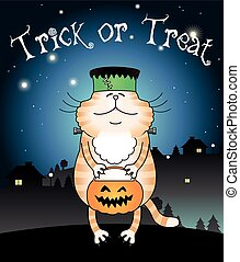 Cat the Frankenstein - Funny cat the Frankenstein trick or ...