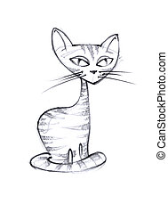 Cat, the pencil sketch