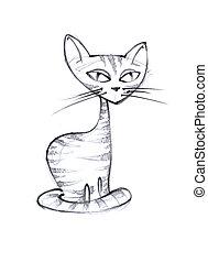 Cat, the pencil sketch