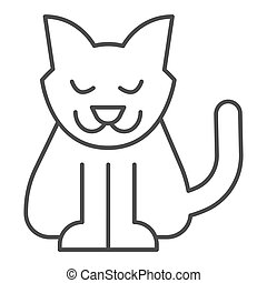 Cat thin line icon. Creepy demon with tail, witch pet. Halloween party vector design concept, outline style pictogram on white background.
