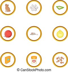 Cat things icons set, cartoon style