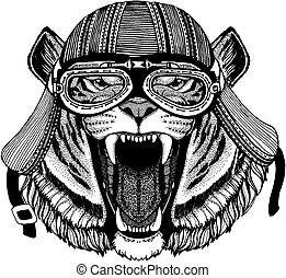 Cat, tiger wild biker animal wearing motorcycle helmet. Hand drawn image for tattoo, emblem, badge, logo, patch, t-shirt.