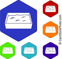 Cat toilet icons set hexagon