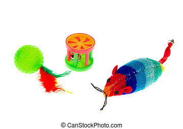 Cat toys - Plastic cat toys isolated over white background