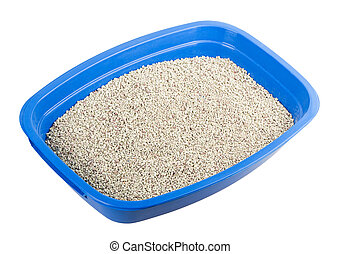 cat tray filler isolated on white background